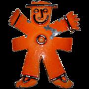 SALE Bellini ~ Whimsical Orange Painted Man Brooch/Pin