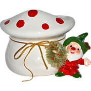 SALE Napcoware ~ Christmas Gnome or Elf Planter with Red Polka Dot Mushroom & Bottle Brush Wre