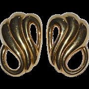 SALE Monet ~ Large Polished Goldtone Swirled Clip Earrings