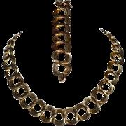 1940s Walter Lampl ~ 12 Kt GF Link Necklace w/ Matching Bracelet Demi-Parure