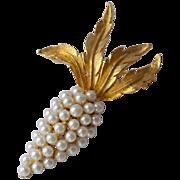 SALE Faux White Pearl Grape Cluster Pin/Brooch