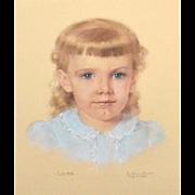"1957 Signed & Framed Original ""Laura"" Pastel Painting"