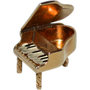 14K Gold Enamel Mechanical Grand Piano Charm
