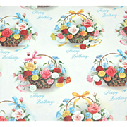 1960s Birthday Flower Baskets Gift Wrap/ Wrapping Paper