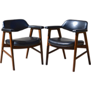 Set of 2 Paoli Mid-Century Danish Modern Chairs, Juhl Chieftain Style, American Made