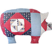SALE Handmade Patchwork Quilt Style Pig Pillow
