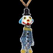SALE Rare Murano Confetti Art Glass & Rhinestone Clown Pendant