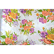 SALE 1960s Bibb Co. Queen Size Orange & Purple Flower No-Iron Flat Sheet