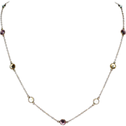 14K Gold Bezel Set Multi-Color Cubic Zirconia Necklace