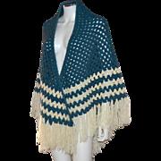 SALE Boho Chic '70s Navy Blue & Beige Chevron Hand Crochet Fringe Shawl