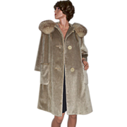 1950s Brazotta Styled by Fairmoor Plush Fur Collar Taupe Brown Coat