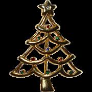 SALE AAI Signed Rhinestone Christmas Tree Pin/Brooch