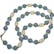 SALE Napier Long Blue & Carved Cream White Bead Necklace
