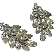 SALE 1950s Large Eisenberg Diamante Climber Rhinestone Clip Earrings