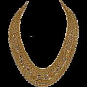 SALE 1950s Etruscan Style Multi-Strand Designer Goldtone Chain Necklace