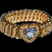 SALE D.F. Briggs Art Deco Amethyst Glass Heart Sweetheart Expansion Stretch Bracelet