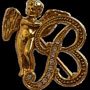 SALE 1928 Jewelry 'B' Monogram Rhinestone Angel Brooch/Pin