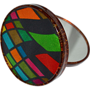 SALE Harlequin Fabric & Lucite Double Mirror Compact