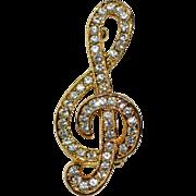 SALE Sparkly Rhinestone Treble Clef Music Note Pin/Brooch
