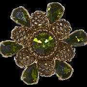 SALE Gorgeous Green Rhinestone Gold Plated Filigree Flower Brooch/Pin
