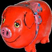 SOLD Cutest Pink & Orange Folk Art Pig Paper Mache Bank