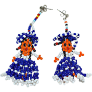 SALE Long Artisan Made Mexican Glass Seed Bead Señorita Doll Folk Art Earrings