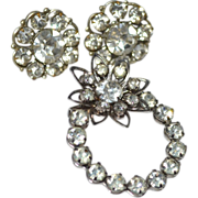 SALE Darling Rhinestone Earrings & Matching Flower Brooch/Pin