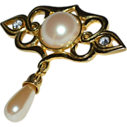 SALE Lady Remington Large Classic Faux Pearl Scrollwork Brooch/Pin
