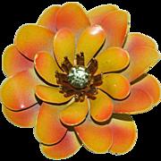 SALE 1960s CORO Golden Enamel & Rhinestone Flower Brooch/Pin
