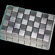 SALE TIFFANY & CO. Sterling Silver Basket Weave Design Pill Box w/ Pouch