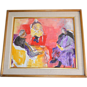 Irving Lehman 20th C Russian-American Artist Original Abstract Expressionist Gouache Painting in Wood & Linen Frame