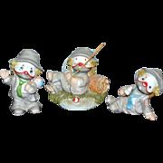 SALE 1980s Lil Vagabond Enesco Set of 3 Clown Porcelain Bisque Figurines