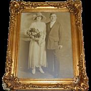 SALE Amazing 12x16 Original Art Deco Wedding Photo ~ Portrait of Bride & Groom in Regency