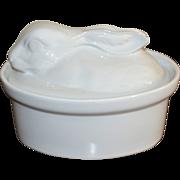 SALE White Ceramic Figural Rabbit Serving Dish or Soup Tureen w/ Lid