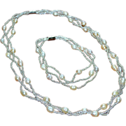 White Faux Baroque Pearl & Glass Bead Necklace w/ Matching Bracelet Set