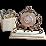 SALE Ornate Hammered Bronze & Onyx Stone Desk Clock & Pen/Pencil Holder Set