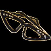 SALE Large Black Enamel & Rhinestone Cat Eye Eyeglasses Pin/Brooch