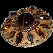 SALE 1960s Accessocraft NYC Topaz Glass Rhinestone Goldtone Pendant/Brooch/Pin