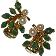 SALE Gorgeous Swoboda Signed Green Jade & White Pearl Clip Earrings