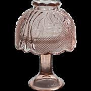 SALE Pink Floral Pressed Glass Pedestal Fairy Lamp