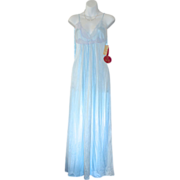 SALE New Old Stock Kayser Balmy Blue Nylon & Lace Nightgown