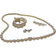 1940s Rare Soap Bubble Bead Necklace, Double Row Bracelet, Sterling Earrings & Matching Pin Parure
