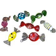 SOLD Set of 7 MURANO Art Glass Pink, Yellow, Blue, Red, Green & White Candy Inspired Piece