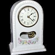 SALE 1994 Paul Sebastian PS Limited Edition White Porcelain Floral Pendulum Clock