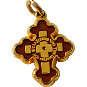 SALE Double-Sided Red/Cream Enamel INRI Cross Religious Pendant or Charm