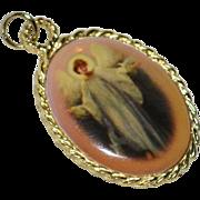 SALE Large Enamel Michael the Archangel Religious Pendant or Charm