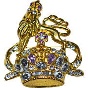 SALE Jeweled Lion of Saint Mark w/ Crown Ten Prayer Line Rhinestone Brooch/Pin