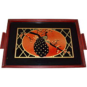 SOLD 1930s Art Deco Reverse Painted Glass Peacock Wood Handle Serving Tray
