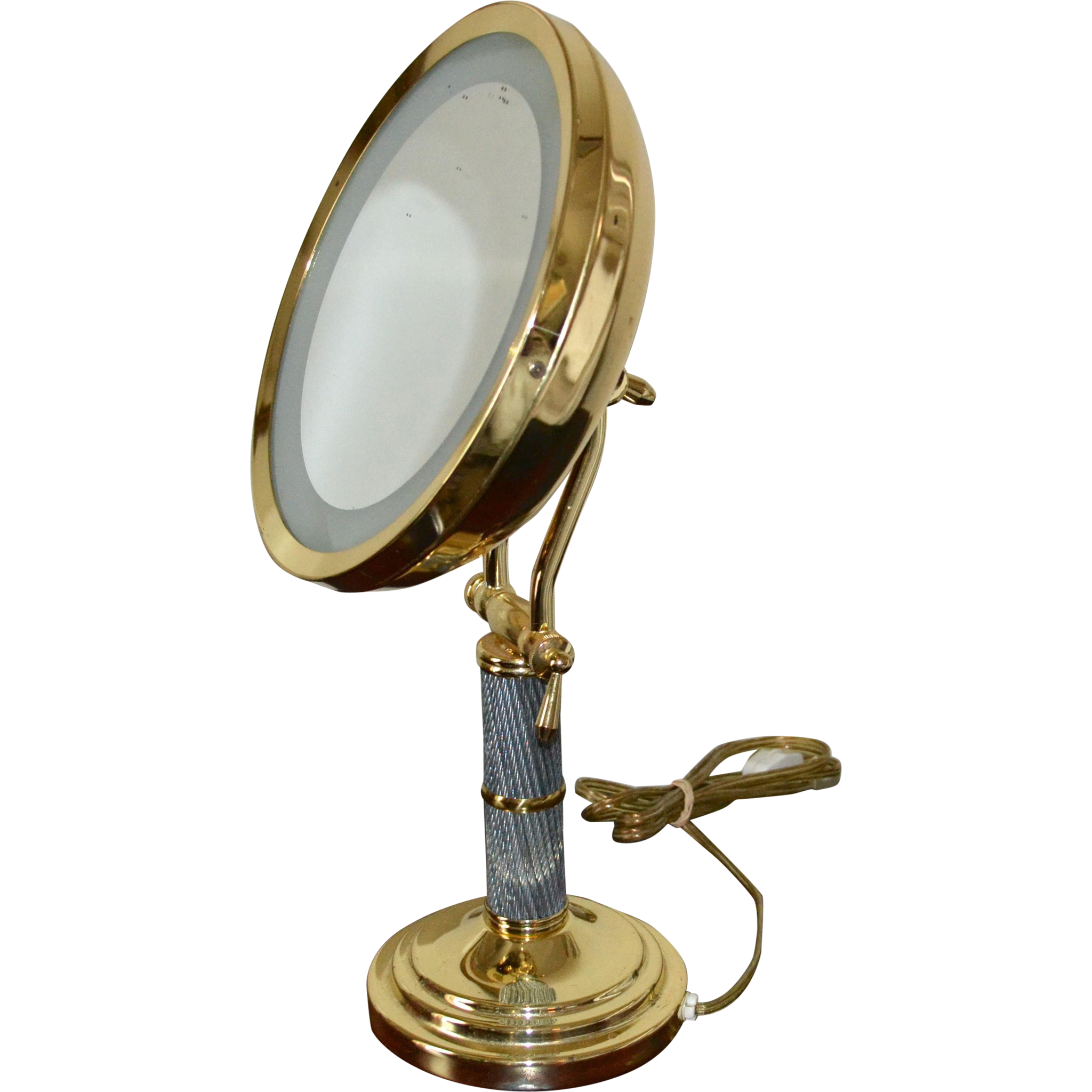 Lighted Vanity Mirror Large : Fancy Deco Inspired Large Swivel Lighted Magnified Vanity Mirror from kitschandcouture on Ruby Lane