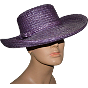 SALE Frank Olive Structured Purple Straw Wide Upturned Brim Hat